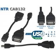 NTR CAB132 microUSB dugó - USB 2.0 aljzat OTG adatkábel 10cm - OTG kábel