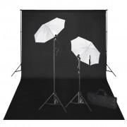 vidaXL Студиен комплект: черен фон 600 х 300 см и светлини