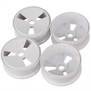 Generic White : Mxfans 4pcs 17mm Drive Hex Plastic 3 Holes Wheel Rim for RC 1:8 Off Road Car White