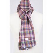 Italiaanse linnen sjaal met paarse ruit