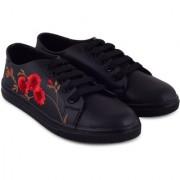 Trendy Look Flower Sneakers For Women (Black)