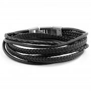Lucleon Bracelet Roy en cuir noir et fermoir couleur métal