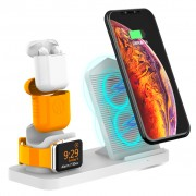 Integrated Dual Coil 3-in-1 Wireless Charging Charger (Not Support FOD Function) for Apple Watch / iPhone / AirPods - White
