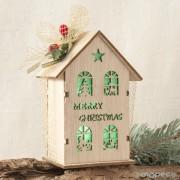 Casa madera Merry Christmas con leds
