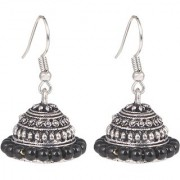 Orbit Oxidized Silver Plated Handmade Beaded Jhumka Earrings