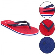 Daily Walk Red And Navy Blue Men's Flip-Flops And Regular Walking House Slippers