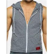 Jack Adams Zip Front Muscle Hoodie Sweater Black/White 404-101