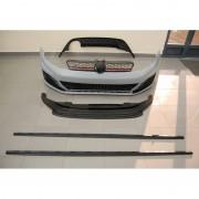 Kit estetico look GTI completo TUNING VW GOLF VII 2012 2013 2014 2015 2016 2017 paraurti anteriore estrattore diffusore minigonne calandra rossa per 4 sensori