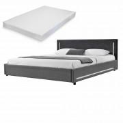 [my.bed] Elegantná manželská posteľ s LED osvetlením - matrac zo studenej HR peny - 180x200cm (Záhlavie: alcantara koženka tmavo sivá / Rám: textil sivá) - s roštom