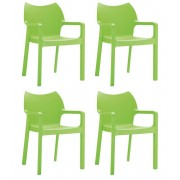 24Designs Set 4 Tuinstoelen Diva Stapelbaar - Groen