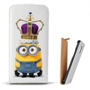 Toc Samsung Galaxy Core 4G LTE G386F Husa Piele Ecologica Flip Vertical Alba Model King Minion