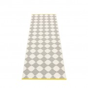 pappelina Marre Outdoor-Teppich – warmes grau / vanille mit senffarbener Kante 70 x 225cm