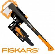 Промо сет: Брадва за цепене Х21 + Универсален нож с вградено точило, 1025436, FISKARS