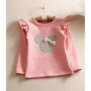 2017 autumn children's clothes girls t-shirts cartoon lace long sleeve cotton baby girl t-shirts for girls kids tshirts tops