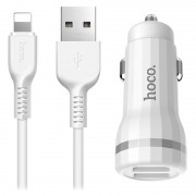 Hoco Z27 Car Charger and Lightning Cable - 1m - White