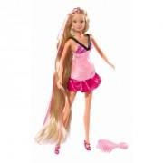 Papusa Steffi Love cu par lung si rochita roz deschis 29 cm