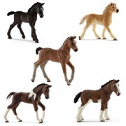 Schleich Toy Horse Foal Figurines Set - Horse toy Figure Foals - Set of Five Horse Babies by SuePerior Living