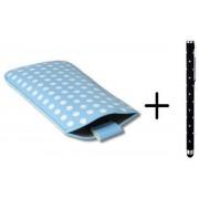 Polka Dot Hoesje voor Huawei Ascend W1 met gratis Polka Dot Stylus, Blauw, merk i12Cover