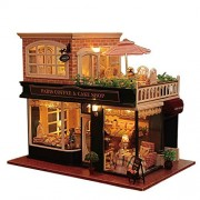 Rylai Wooden Handmade Dollhouse Miniature DIY Kit - Romantic Cafe Series Wooden Dollhouses Furniture Parts 1 24 Scale Dollhouse