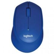 Мишка Logitech M330 Silent Plus, оптична (1000 dpi), безжична, USB, синя