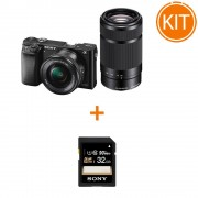 Kit Sony A6000 cu Obiectiv 16-50 F/3.5-5.6 OSS si 55-210 F/4.5-6.3 OSS Negru + Sony SDHC 32GB Class 10 90MB/s