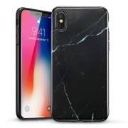 ESR iPhone XS hoes Marmer zwart wit zacht TPU