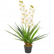 vidaXL Изкуствено растение орхидея със саксия, бяло, 90 см