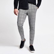 River Island Mens Grey check super skinny crop fit trousers (32S)