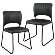 [en.casa]® Дизайнерски стол от еко кожа Osaka , комплект от 2 броя - 78 x 45,7см - Черен