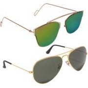 Reyda Aviator, Over-sized Sunglasses(Green, Black)