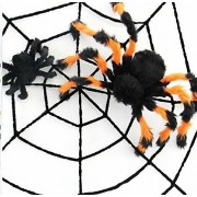 "Pawliss Halloween Theme Party Decorations 120"" Spider Web with 2 Giant Spiders 12"" 30"""