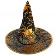 Palarie de vrajitoare neagra cu imprimeu auriu