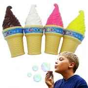 Ice Cream Cone Shape Bubbles - 4 Pack - Fun with Wand and Bubble Solution - Summer Fun, Party, Backyard, Favors - Indoor Outdoor - for Kids and Adults - Measures 6 Inches