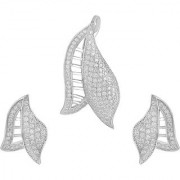 92.5 Sterling Silver Cubic Zirconia Studded Shell Pendant Earrings Set for Women and Girls