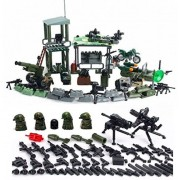 Arundel Services EU Mini Figures Jungle Outpost Army Playset with Military Weapons and Accessories Soldiers War Guns Building Bricks Soldier Blocks Lego Compatible Minifigures