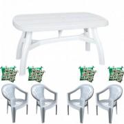 Set gradina masa 90x150 cm cu 4 scaune Carnaval, culoare alba, 4 perne scaun, King, B001141