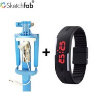 Sketchfab Combo of Monopad SelfieStick with Mini Aux cable + LED Watches Unisex Silicone Rubber Digital Watches