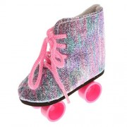 Dovewill Pair of Lace Up Colorful Bling Bling Roller Skates Shoes for 18inch American Girl Dolls Clothing Accessories