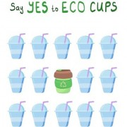 say yes to eco cups sticker poster|save environment|NO plastic|save earth|size:12x18 inch|multicolor