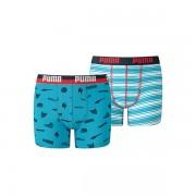 Puma Multilogo & Stripe Print Boxershorts Boys Blue Danube 152