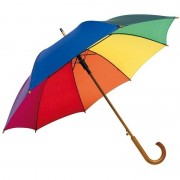Merkloos Regenboog paraplu met houten handvat 103 cm