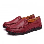 Women Casual Leather Shoes Soft Outdoor Slip On Flat Loafers Shoes