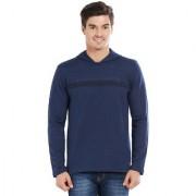 BONATY Navy Blue 100% Cotton Solid Hooded Full Sleeves T-Shirt For Men