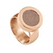 Quiges RVS Schroefsysteem Ring Rosékleurig Glans 18mm met Verwisselbare Glitter Champagne 12mm Mini Munt
