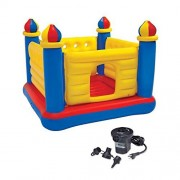 Intex Inflatable Jump-O-Lene Ball Pit Castle Bouncer & 120V Quick Fill Air Pump, Features Double-Mattress Floor, Soft, Thick and Durable Phthalate Free PVC, 120LBS Max. Weight Capacity