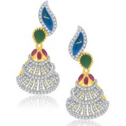 Sukkhi Burnished Gold And Rhodium Plated Ruby CZ Earrings For Women
