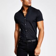 River Island Mens Black muscle fit short sleeve shirt (Size M)