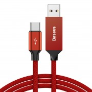 BASEUS Yiven 5m Smart Boosted Circuit Data Sync 3A Charge Type-C USB Cable for Huawei Xiaomi, etc - Red