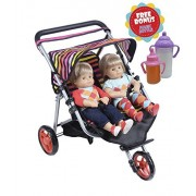 Twin Jogger Doll Stroller With Diaper Bag (Bitty Twins)