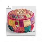 Indian Handicrafts Export Cubierta de patchwork india para salón, decoración del hogar, otomano decorativo, bordado a mano, otomano, para el hogar, salón, taburete, silla de paseo, bohemio, puf otomano